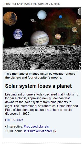 Solar system loses a planet.